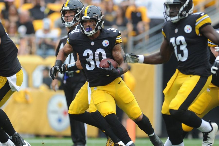 Running+back+James+Conner+%28%2330%29+will+look+to+carry+the+majority+of+the+workload+out+of+the+Pittsburgh+Steelers+backfield+in+Le%27veon+Bell%27s+absence.+Philip+G.+Pavely-USA+TODAY+Sports