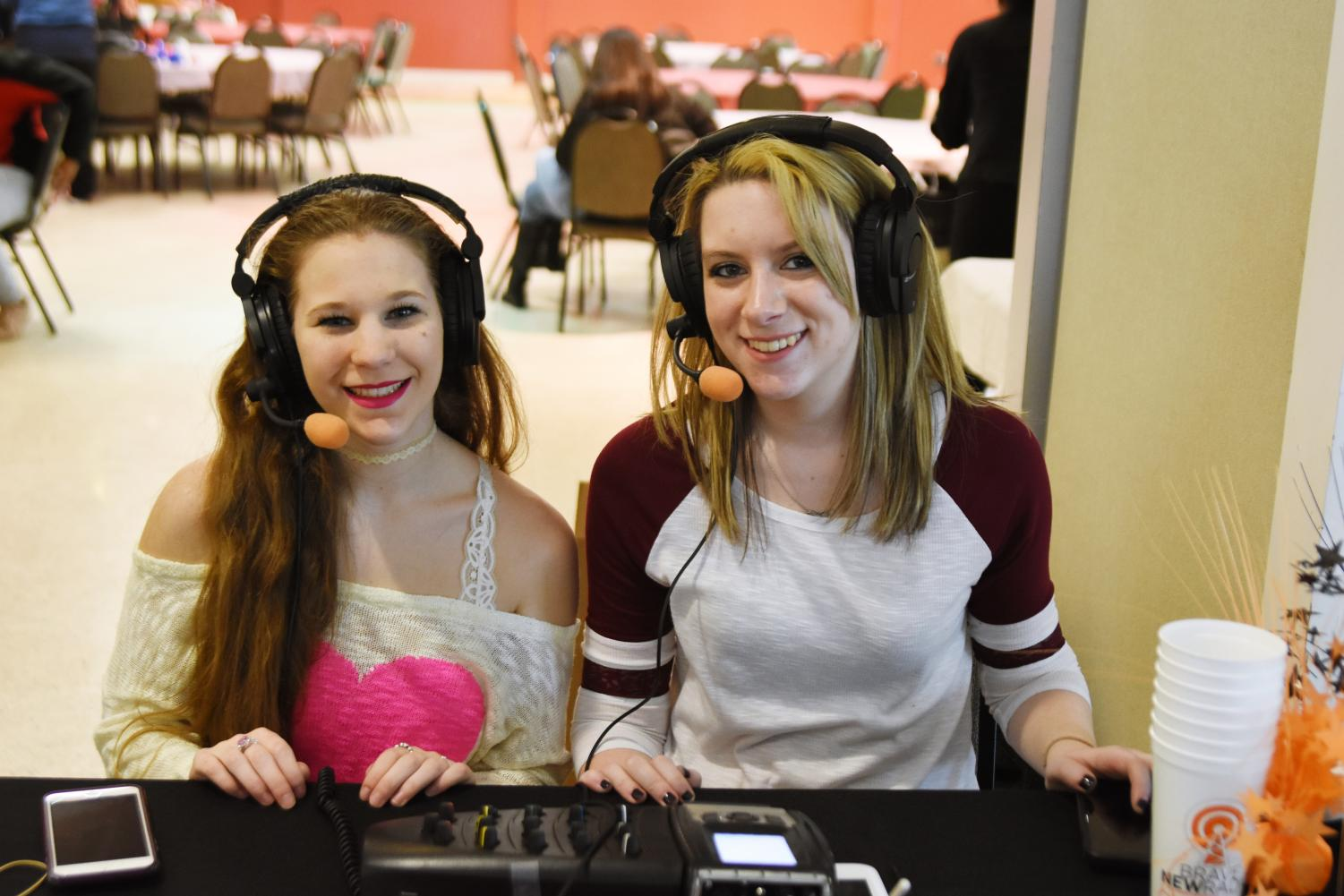 Erika (left) and Bree (right), hosts at Brave New Radio's Valentine's Day event.