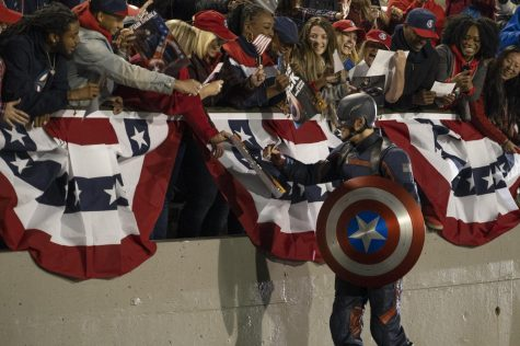 """Wyatt Russell as Captain America in """"The Falcon and The Winter Soldier"""" Image Credit: Chuck Zlotnick and Marvel Studios"""