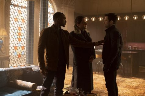 """Left: Sam Wilson (Anthony Mackie), Helmut Zemo (Daniel Bruhl) and Bucky Barnes (Sebastian Stan) in """"The Falcon and The Winter Soldier"""" Image Credit: Chuck Zlotnick"""